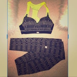 VICTORIA SECRET SPORT BRA & KNOCKOUT TIGHTS XS/32B
